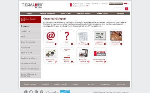 Screenshot of Support Page thermatru.com - Customer Support | Therma-Tru - captured March 1, 2016