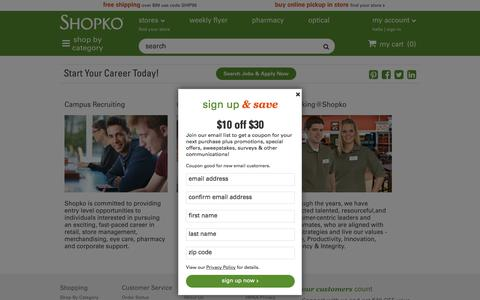 Screenshot of Jobs Page shopko.com - Careers Landing: Shopko - captured March 20, 2018