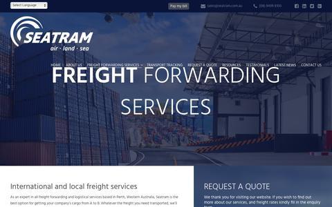 Screenshot of Services Page seatram.com.au - Australian Based Freight Forwarding Services | SEATRAM - captured Nov. 16, 2018