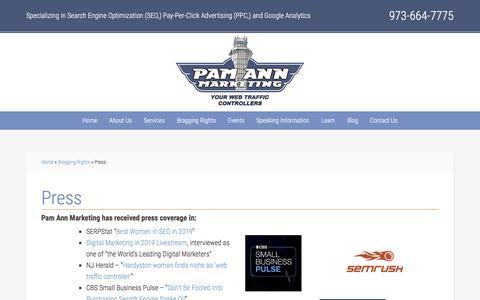 Screenshot of Press Page pamannmarketing.com - Press - captured Oct. 5, 2019