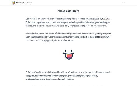 Screenshot of About Page colorhunt.co - Color Hunt - Beautiful Color Palettes - captured Oct. 6, 2017
