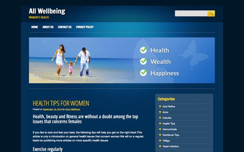 Screenshot of Home Page allwellbeing.com - All Wellbeing - Women's health - captured Jan. 24, 2015