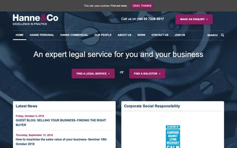 Screenshot of Home Page hanne.co.uk - Solicitors from the Leading Law Firm in London   Hanne & Co - captured Oct. 11, 2018