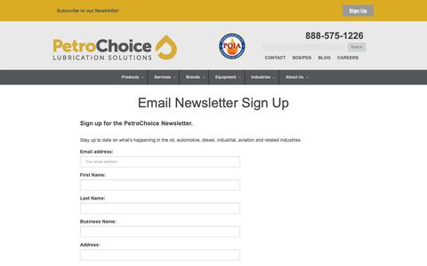 Screenshot of Signup Page petrochoice.com - Email Newsletter Sign Up - PetroChoice - captured Sept. 27, 2018