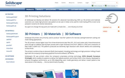 Screenshot of Products Page solid-scape.com - 3D printing solutions for mold making and lost wax investment casting | Solidscape - captured Sept. 19, 2014