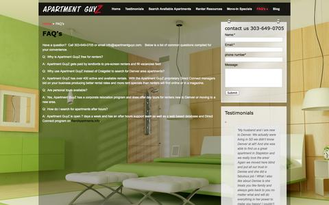 Screenshot of FAQ Page apartmentguyz.com - FAQ's - captured Oct. 4, 2014