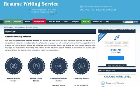 Screenshot of Services Page resumewritingservice.biz - Resume Writing Services: Choose Certified Professional Resume Writers - captured Nov. 12, 2017