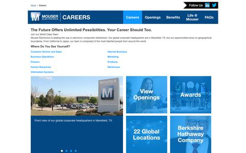 Screenshot of Jobs Page mouser.com - Careers - captured Oct. 24, 2017