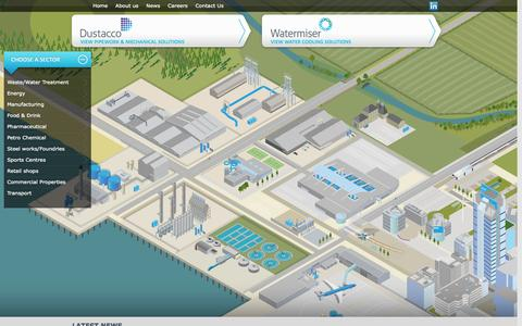 Screenshot of Home Page dustacco-watermiser.com - Dustacco Engineering & Watermiser Cooling Solutions - captured Oct. 5, 2014