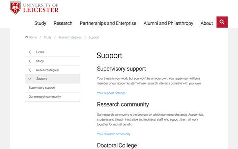 Screenshot of Support Page le.ac.uk - Support — University of Leicester - captured Jan. 23, 2018