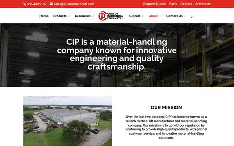 Screenshot of About Page customindprod.com - About CIP | A Growing VRC and Material-Handling Company - captured June 2, 2018
