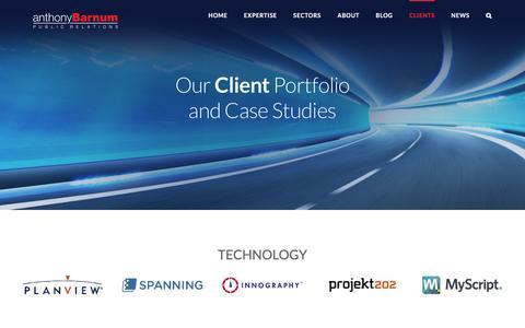 Screenshot of Case Studies Page Testimonials Page anthonybarnum.com - Clients   anthonyBarnum - captured Nov. 21, 2016