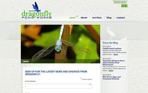 Screenshot of Press Page dragonflypondworks.com - news - Dragonfly Pond Works - captured Sept. 30, 2014