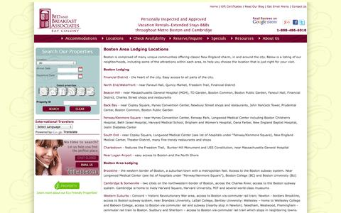 Screenshot of Locations Page bnbboston.com - Boston Area Lodging - Bed and Breakfast Associates Bay Colony, Boston - captured Oct. 5, 2014