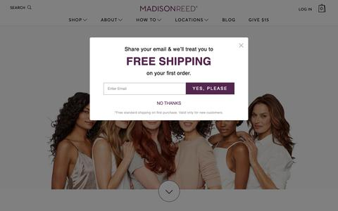 Screenshot of Home Page madison-reed.com - Professional Hair Color at Home from Madison Reed - captured April 6, 2019