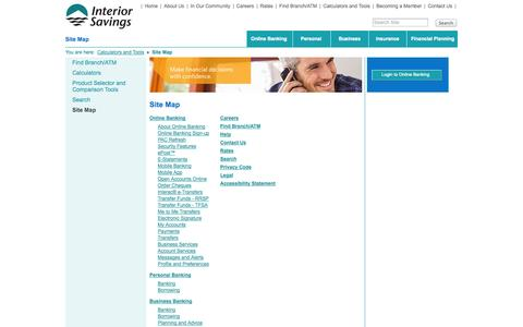 Screenshot of Site Map Page interiorsavings.com - Interior Savings Credit Union - Site Map - captured Sept. 23, 2014