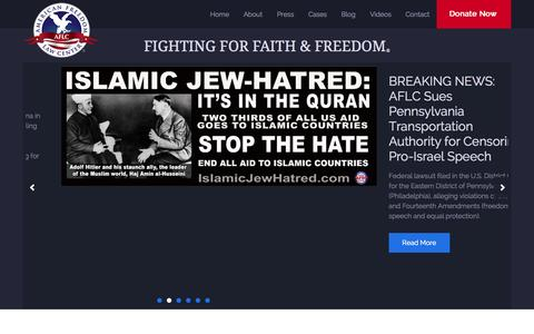 Screenshot of Home Page americanfreedomlawcenter.org - American Freedom Law Center - captured Sept. 26, 2014