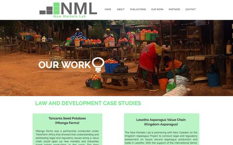 Screenshot of Case Studies Page newmarketslab.org - NML Projects - captured June 13, 2017