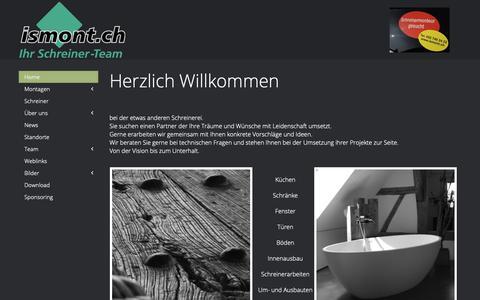 Screenshot of Home Page ismont.ch - ismont AG Schreiner-Team - Home - captured Oct. 22, 2018