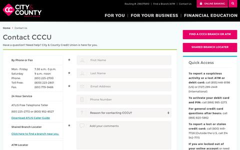 Screenshot of Contact Page cccu.com - Contact Us - Credit Union in St Paul, Maplewood, Eagan - CCCU - captured May 31, 2018