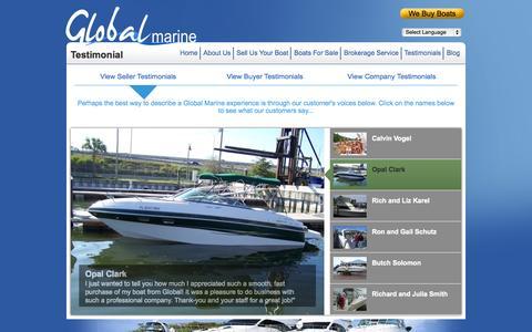 Screenshot of Testimonials Page globalmarineboats.com - Testimonials » Global Marine Boats - captured Sept. 30, 2014