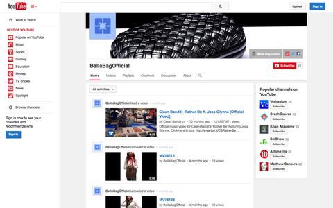 Screenshot of YouTube Page youtube.com - BellaBagOfficial  - YouTube - captured Oct. 23, 2014
