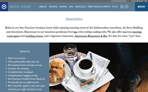 Screenshot of About Page jdvhotels.com - San Francisco Hotels Embarcadero | Hotel Vitale - Amenities - captured Sept. 23, 2018