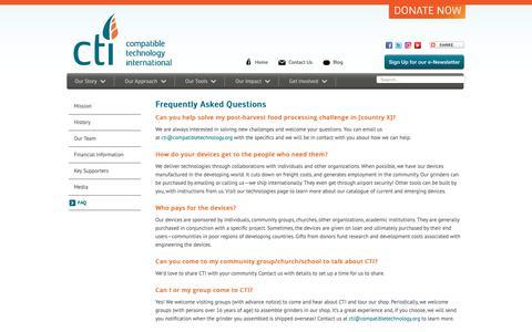 Screenshot of FAQ Page compatibletechnology.org - CTI - FAQ - captured Sept. 28, 2018