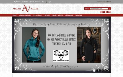 Screenshot of Home Page apparelvalley.com - Apparel Valley -  Apparel Valley offers Iceandic and European style knitwear and unique women's clothing.  Beautifully crafted Sweaters and Jackets from Icelandic Design.  Soft and fashionable styles from Wooly Bully Wear.  Colorfully crafted hand kn - captured Sept. 30, 2014
