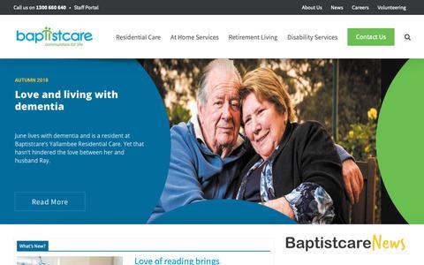 Screenshot of Press Page baptistcare.com.au - News, updates, competitions and more   Baptistcare WA - captured Nov. 6, 2018