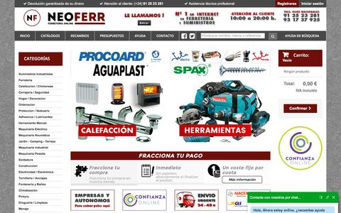 Screenshot of Home Page neoferr.com - Ferreteria Online y Suministros industriales - NEOFERR - captured Jan. 20, 2018