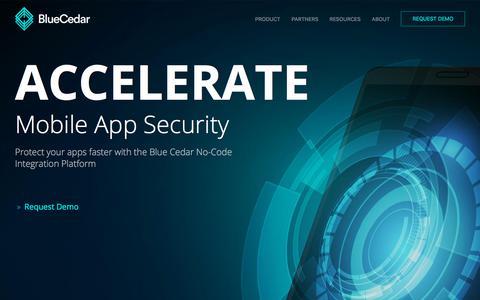 Screenshot of Home Page bluecedar.com - #1 Mobile App Integration Provider | Blue Cedar - captured July 8, 2019