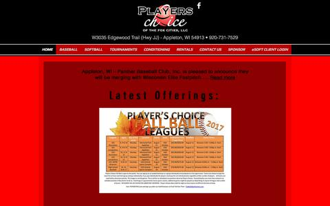 Screenshot of Home Page pcfoxcities.com - Players Choice of the Fox Cities - captured Aug. 10, 2017