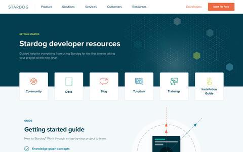 Screenshot of Developers Page stardog.com - Learn Stardog - captured Sept. 11, 2019