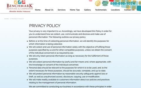 Screenshot of Privacy Page benchmarkpainting.com - Privacy Policy | Benchmark Painting - captured Oct. 5, 2018