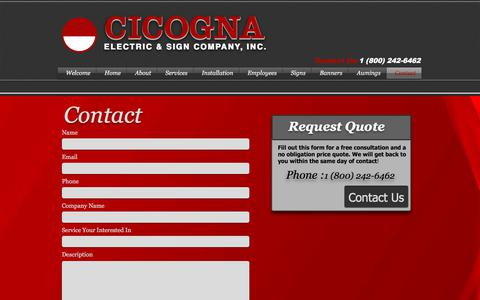 Screenshot of Contact Page cicognasign.com - Cicogna Sign / Contact / Ashtabula, OH - captured July 30, 2017
