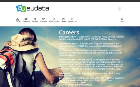 Screenshot of Jobs Page eudata.biz - Eudata | Careers - captured Sept. 30, 2014