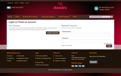 Screenshot of Login Page rainbowbakers.com - Customer Login - captured Nov. 2, 2014