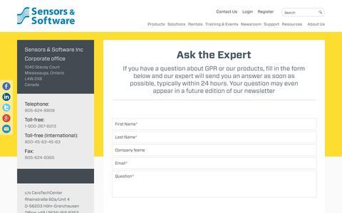 Screenshot of Signup Page sensoft.ca - Ask the Expert - Sensors & Software - captured Nov. 18, 2016