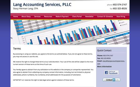 Screenshot of Terms Page langaccountingservices.com - Terms   Lang Accounting Services, PLLC - captured Sept. 27, 2018