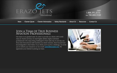 Screenshot of Jobs Page erazojets.com - Careers | Erazo Jets International - captured Oct. 2, 2014