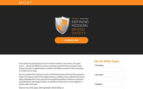 Screenshot of Landing Page moat.com - [WHITE PAPER] Defining Modern Brand Safety - captured Sept. 16, 2017