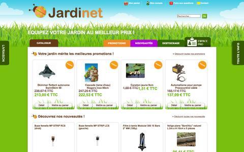 Screenshot of Home Page jardinet.fr - Un grand choix de produits destinés à la réalisation et à l'entretien de votre jardin. - captured Nov. 18, 2015