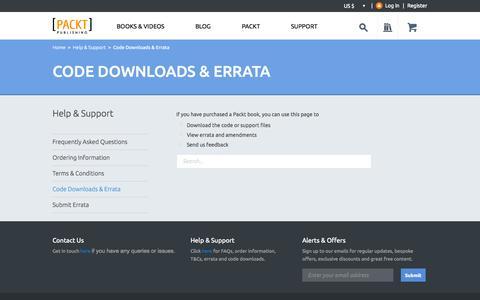 Screenshot of Support Page packtpub.com - Code Downloads | Packt - captured Sept. 18, 2014