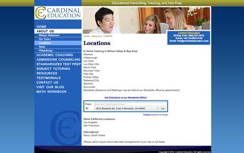 Screenshot of Locations Page cardinaleducation.com - Cardinal Education: About Us � Locations - captured Oct. 22, 2014