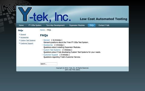 Screenshot of FAQ Page y-tek.com - FAQs - captured Oct. 3, 2014
