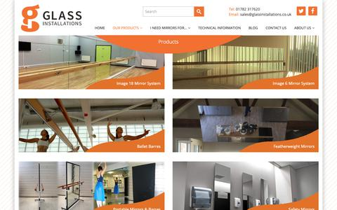 Screenshot of Products Page glassinstallations.co.uk - Products - Glass Installations - captured Sept. 28, 2018