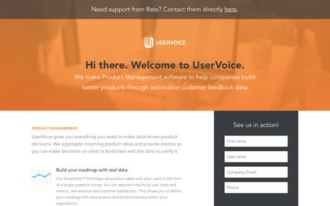 Screenshot of Landing Page uservoice.com - Powered By UserVoice - captured Feb. 8, 2018