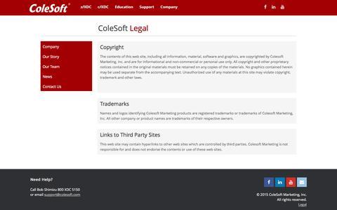 Screenshot of Terms Page colesoft.com - Legal | ColeSoft Marketing, Inc. - captured Nov. 9, 2016