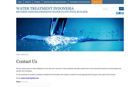 Screenshot of Contact Page wordpress.com - Contact Us « Water Treatment Indonesia - captured Sept. 12, 2014